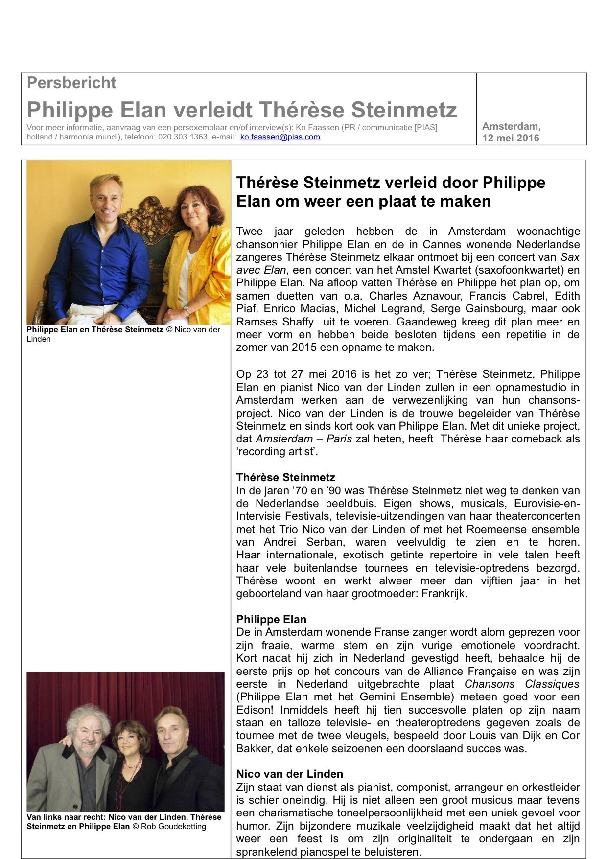 Persbericht Thérèse Steinmetz verleidt door Philippe Elan om weer een plaat te maken