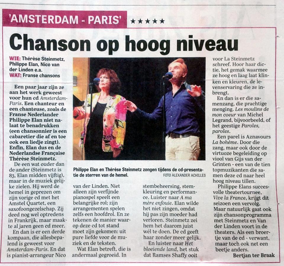De Telegraaf. recensie. 20:09:2016