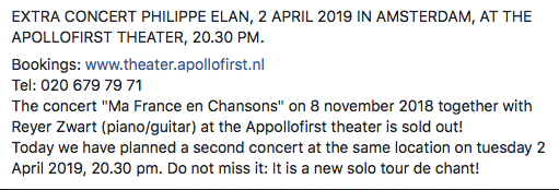 Ma France en Chansons @ Apollofirst theater | Amsterdam | North Holland | Netherlands